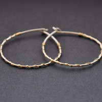 Mixed Metal Hoops, Silver Gold Fill, Small Hoop Earrings, Two Tone Wire Jewelry, Argentium