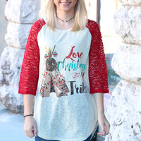 Love Christmas w/ My Tribe Lace Sleeve Raglan - KIDS + ADULTS