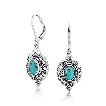 Oval Filigree Blue Turquoise Leverback Drop Earrings Sterling Silver