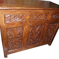 Antique Media Sideboard Console Buffet Floral Carved Storage Chest