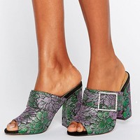 ASOS HARLEQUIN Jewelled Buckle Heeled Mules at asos.com