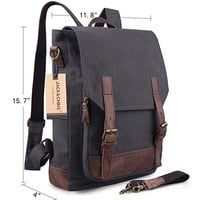 Jack&ChrisCanvas Leather Backpack Rucksack Laptop Bag 2 Way to Carry,MC6914