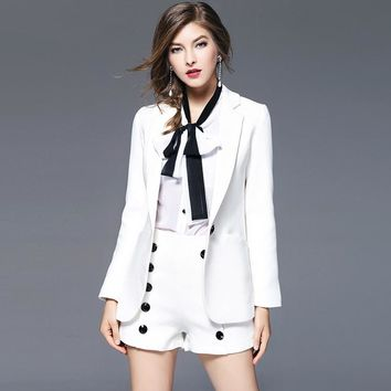 White Blazers Women Suit Cotton Blends Fabric Long Sleeves Single Button Ladies Office Work Clothing Mujer 2017 New Fashion