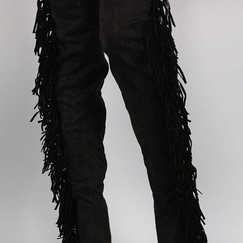 Suede Side Fringe Peep Toe Over-The-Knee Stiletto Boots