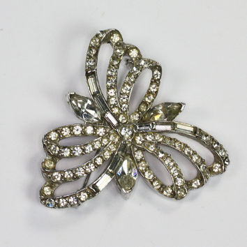 Crystal Rhinestone Brooch Signed Pell Bridal Wedding Special Occasion Vintage