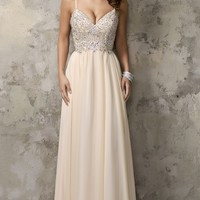Nina Cannaci Long V-Neck Prom Dress