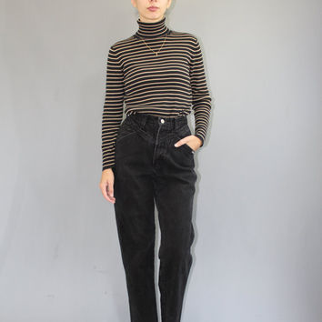 ON SALE Size 24 Vintage XS Black High Waisted Denim High Waist Faded Black Jeans Xs  Vintage Black jeans 1990s Jeans high waisted mom jeans
