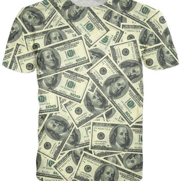 Hundred Dollar Bill Collage All-Over Print Sublimated Green T-Shirt