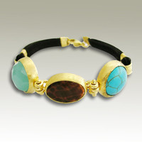 24k plated gold bracelet with Fire Agate blue by artisanimpact