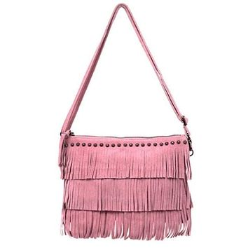 Women's Suede Leather Fringe Clutch In Pink