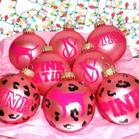 Leopard Rhinestone Victoria Secret VS Pink 8PC Glass Ornament Set