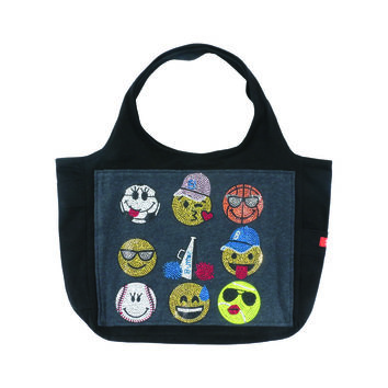 "Butter GIRLS ""SPORT EMOJIS"" CANVAS TOTE BAG - Black/Grey"