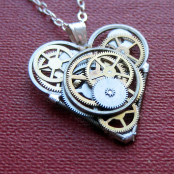 "Mini Watch Parts Heart Necklace ""Objet"" Elegant Industrial Heart Pendant Steampunk Sculpture Gershenson-Gates Mechanical Mind Christmas"