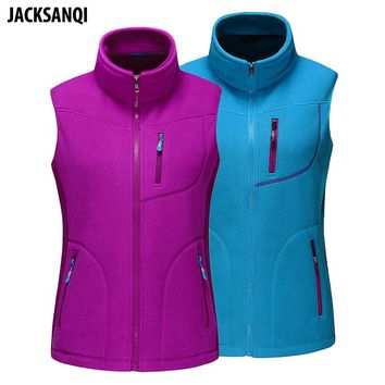 JACKSANQI Winter Women's Fleece Vest Thermal Outdoor Hiking Climbing Trekking Sleeveless Jackets New Female Softshell Vest RA111
