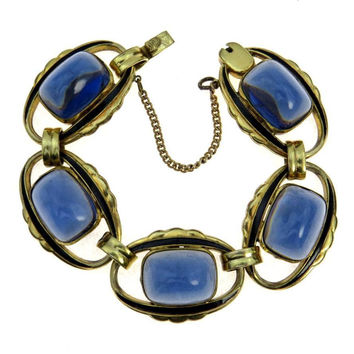 L S Mayer Germany Victorian Revival Bracelet Sugarloaf Sapphire Glass