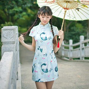 Japanese Cute Print Cartoon Dress For Women Summer 2017 Lolita Cheongsam Kawaii Cat Vintage Bodycon Split Female Party Dresses
