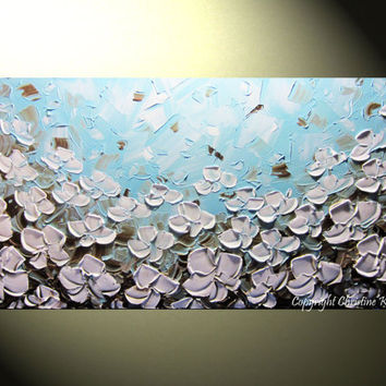 """Original Abstract Palette Knife Painting, White Poppy Flowers, Textured Modern Poppies Floral, Blue Brown Fine Art 24x48"""" -Christine"""