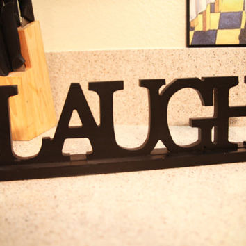 Wooden LAUGH Sign - Black