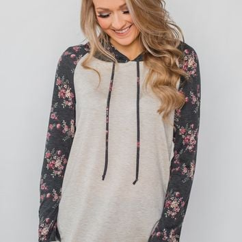 Dreaming in Floral Lightweight Hoodie- Oatmeal & Charcoal