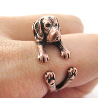 Realistic Beagle Puppy Shaped Animal Wrap Ring in Copper | Sizes 4 to 8.5