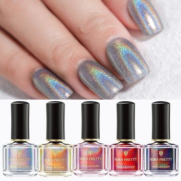 BORN PRETTY Holographic Laser Nail Polish Flourish Series 6ml Varnish Shining Glitter Nail Lacquer 3-in-1 Water Based Top Coat