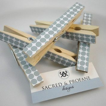 Grey Dotted Wooden Clothespins Set of Five by SacredandProfane