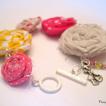 Strawberry Shortcake Rosette Bracelet  Yummy by VintageOoakDesigns