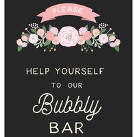 Rustic Wedding Bubbly Bar Sign