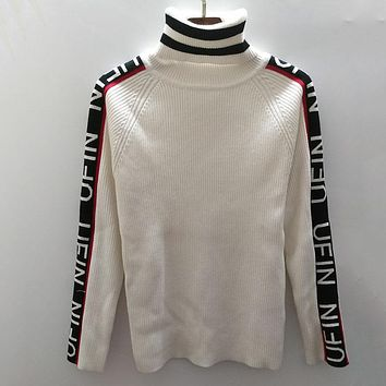 UNIF Ur Not in Fashion Women Fashion High Collar Knit Top Sweater Pullover