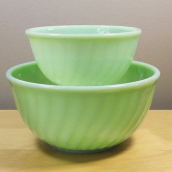 Fire King Jadeite Jadite Swirl Mixing Bowls Set, 8 and 6 inch