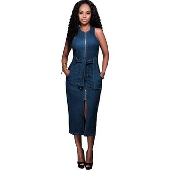 Blue Denim Front Zipper Women's Bodycon Dress