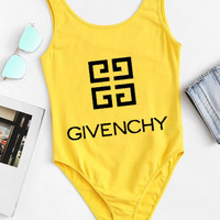 Givenchy Tide brand female sexy letter print one-piece bikini swimsuit