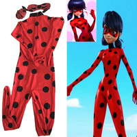Miraculous Ladybug Cosplay Costume New 2016 Kids/ Child/ Girls Movie Fantasia Party Festa Halloween Costume For Women Kids