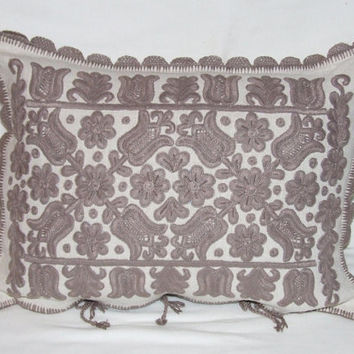Hand made embroidered pillow case with Hungarian motifs