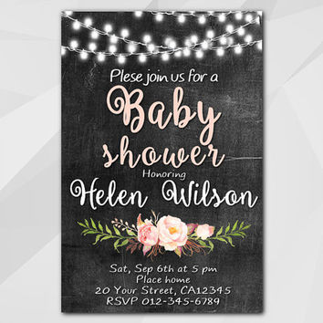 String Lights Watercolor Baby Shower Invitation, Chalkboard Watercolor Invitation, Custom etsy Baby Shower invitation XB003c-1