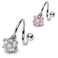 14g Flower Gem Spiral Belly Button Ring Navel Body Jewelry Piercing with Surgical Steel Barbell 14 Gauge