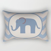 Baby Blue Chevron Elephant Rectangular Pillow by UMe Images
