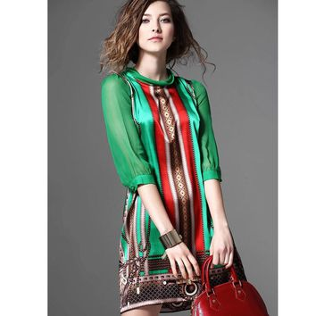 Summer Dress Women 2017 Brand New European Fashion Elegant Pattern Green Print Retro Vintage Dresses For Lady Plus Size Clothing