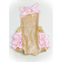 Soft Pink Gold Sequin Romper
