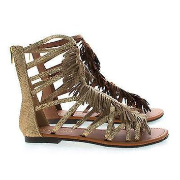 Fringe By Classified, Gladiator Open Toe Fringe Zip Up Ankle Flat Sandals