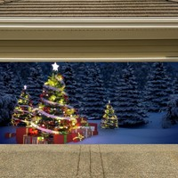 Christmas Garage Door Cover Christmas Tree Banners 3d Holiday Outside Decorations Outdoor Decor for Garage Door G72