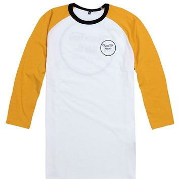 Brixton Wheeler 3/4 Sleeve Knit T-Shirt - Mens Tee - White/Gold