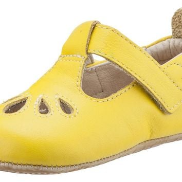 Old Soles Girl's 053 T-Petal Cut-Out Detail Sunflower Yellow Leather Mary Jane Flats