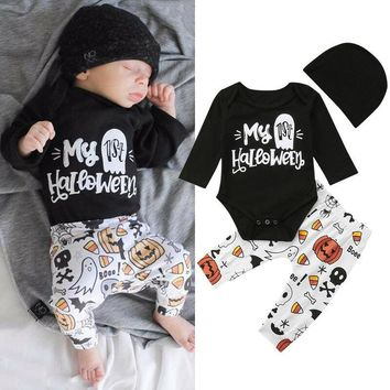Newborn Baby Boy Girl My 1st Halloween Romper Jumpsuit Pants Outfits Set Clothes