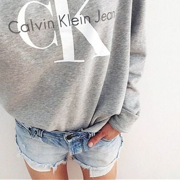 Calvin klein jeans  Hot sexy letters printing female sweater pullovers Grey