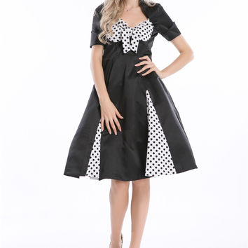 free shipping  FIFTIES BLACK and WHITE PLUS SIZE POLKA DOT ROCKABILLY JIVE DRESS