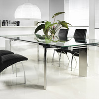 Casabianca Collection Chrome Clear Glass Extendable Cb-095 Dining Table