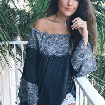 Good To Me Black Woven Tunic With Bell Sleeves