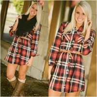 Plaid Party Dress - Piace Boutique