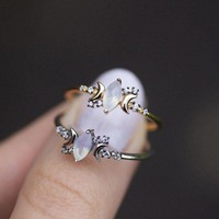 Cut Simple Gold Engagement Wedding Rings For Women Boho Cubic Zirconia Small Stone Thin Moon Ring Fashion Jewelry R579